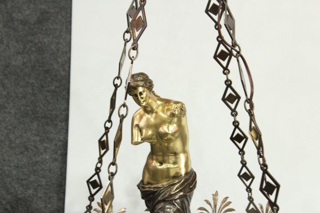 Greek renaissance polished brass chandelier with statue - 3