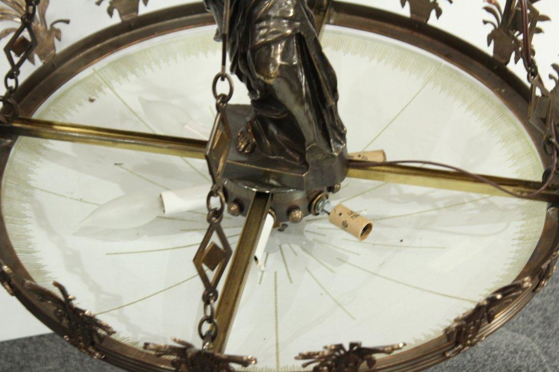 Greek renaissance polished brass chandelier with statue - 4