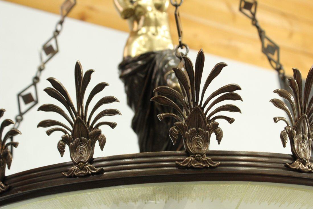 Greek renaissance polished brass chandelier with statue - 6