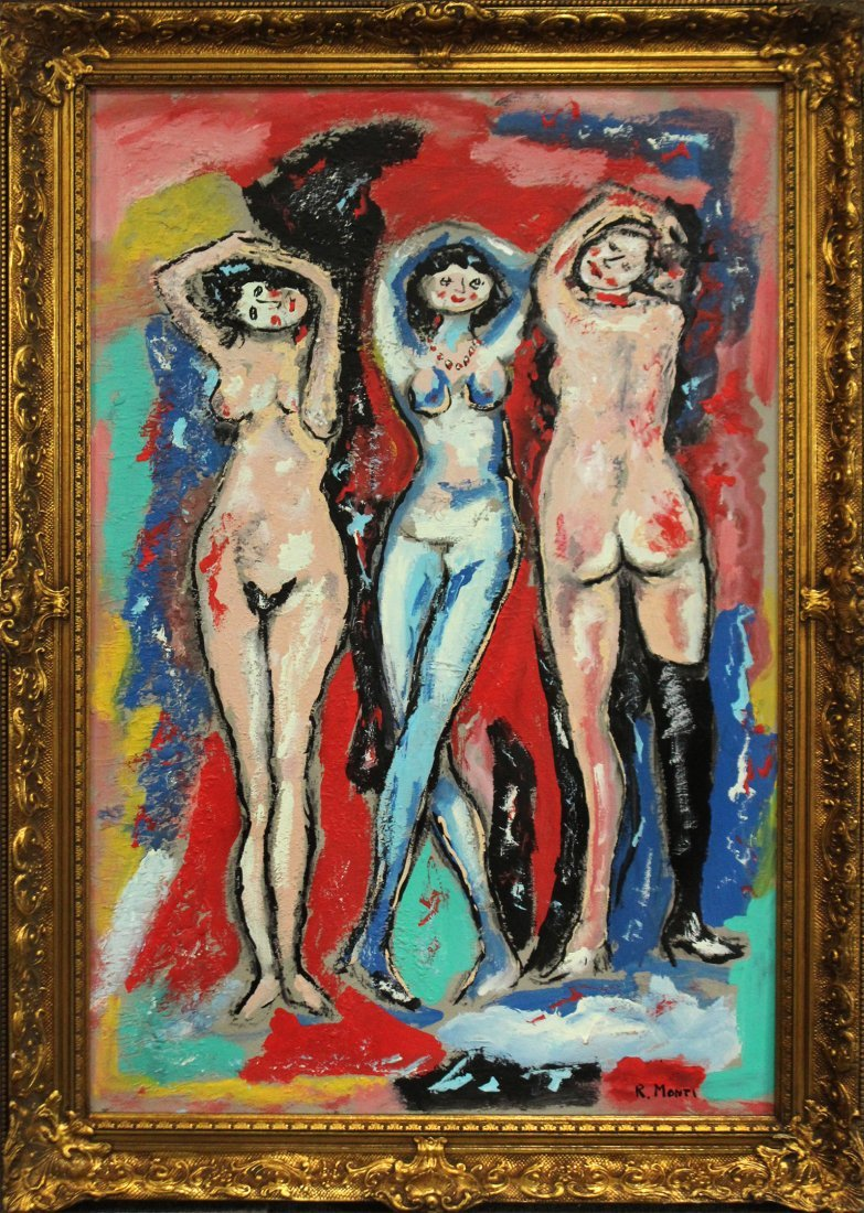 R. MONTI, Mid Century Oil/c 3 Nude Maidens In Abstract