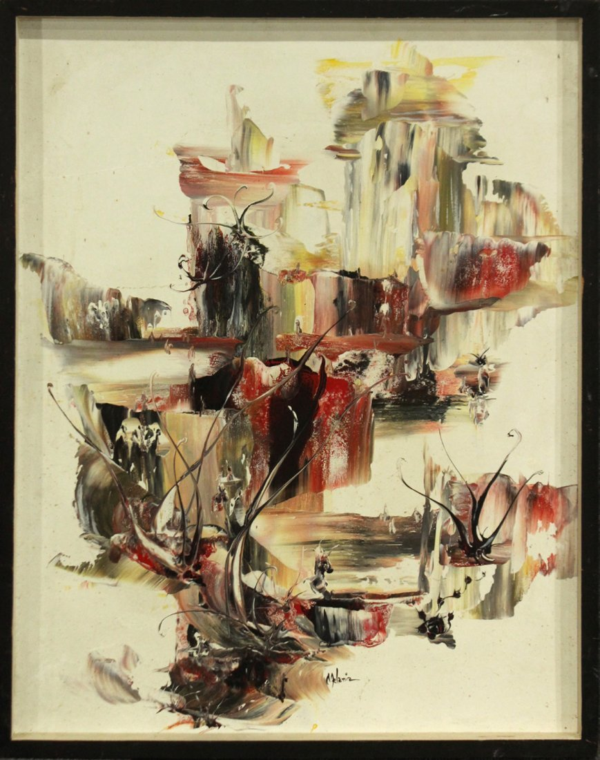 MELANIA Phila Pa Artist ABSTRACT OIL/C Signed, Titled