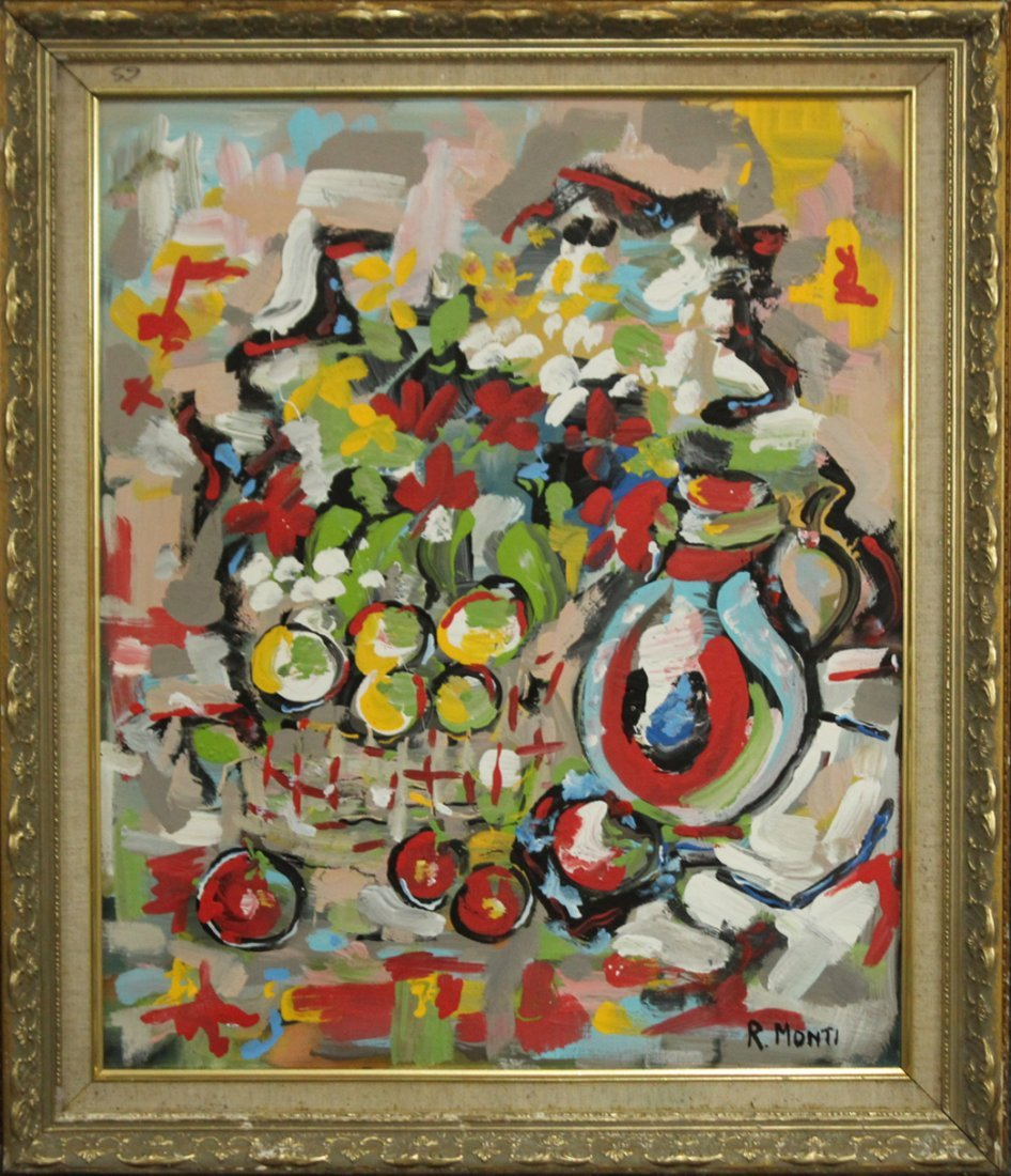 R. MONTI, Mid Century Oil/c ABSTRACT STILL LIFE Signed