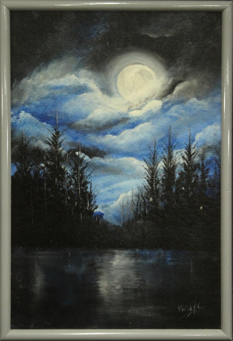 MOONLIGHT OVER THE LAKE, OIL/B Signed Illegible