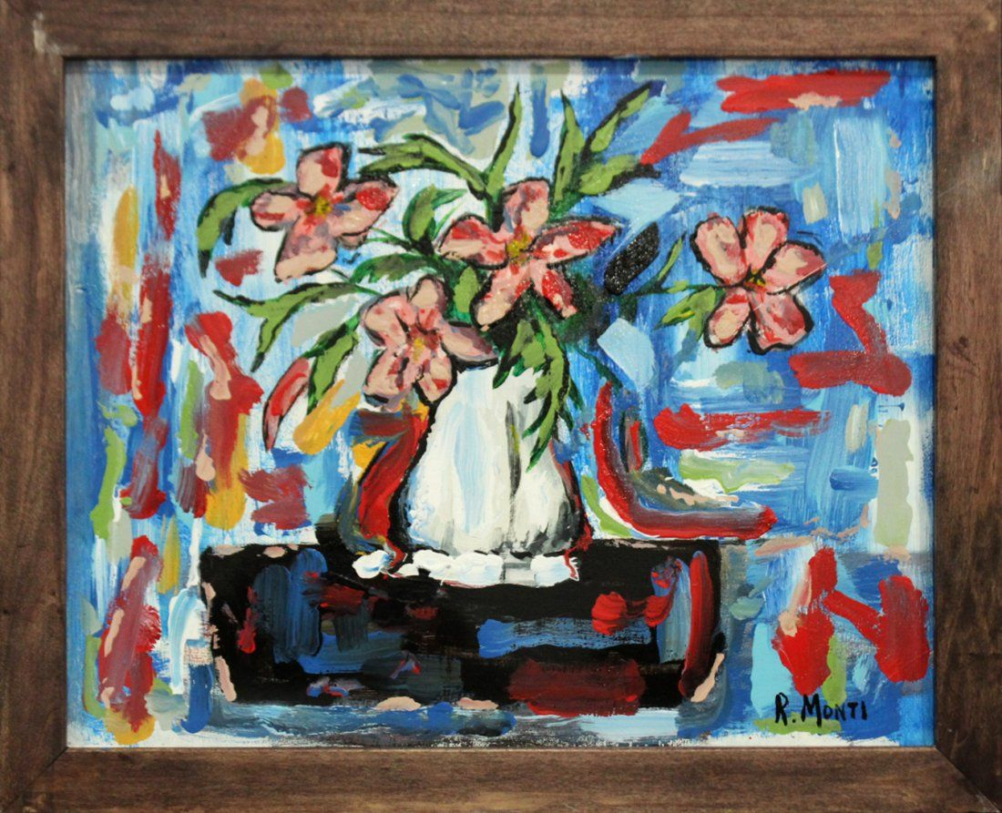 R. MONTI, Mid Century Oil/c ABSTRACT FLORAL STILL LIFE