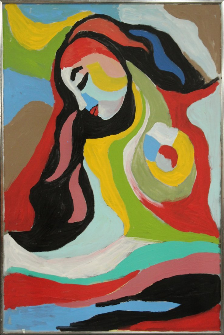 MID CENTURY MODERN OIL ON CANVAS ABSTRACT GIRL