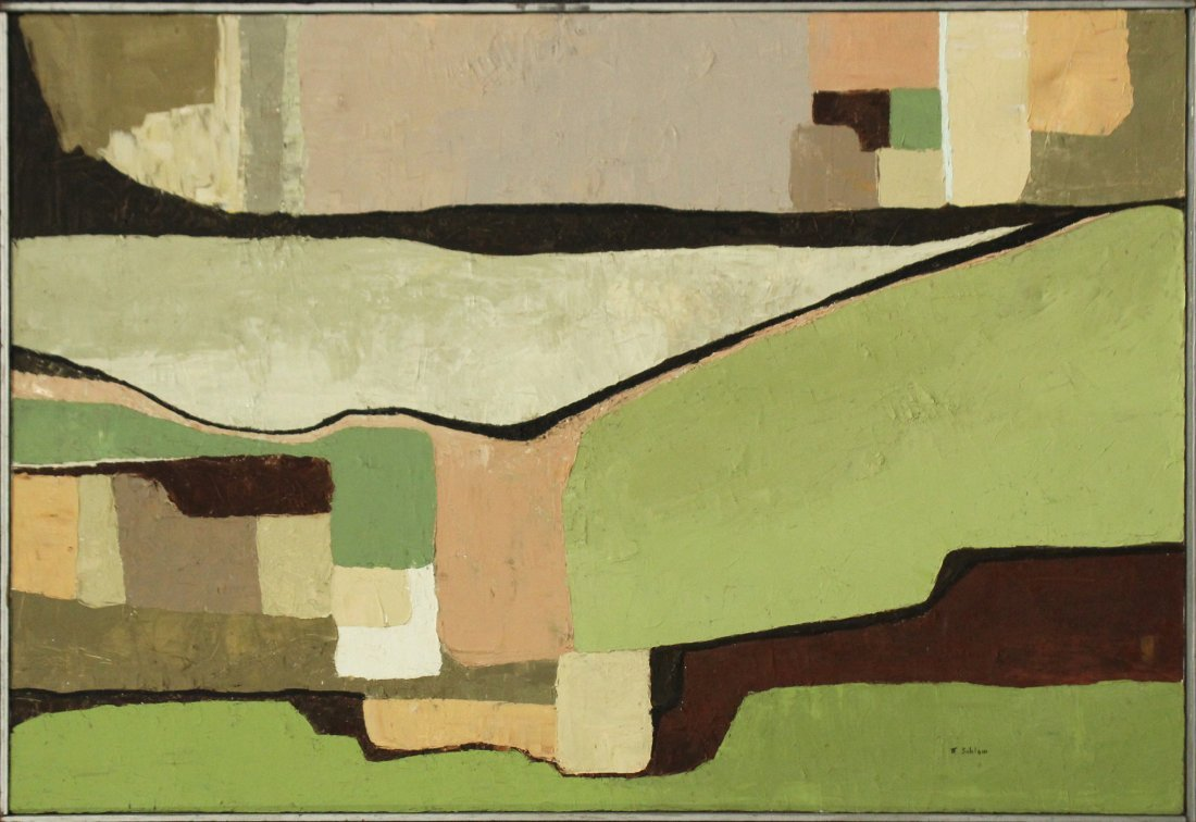 M SABLOM, OIL/c MID CENTURY MODERN ABSTRACT COMPOSITION