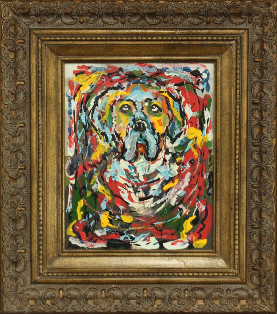 Mid Century Modern Oil/c DOG PORTRAIT IN ABSTRACT