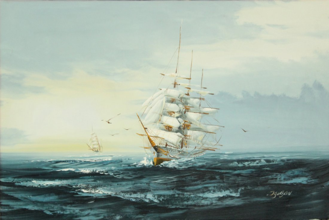 JAUGAN OIl/c Painting, Clipper Ship On Seas, Signed