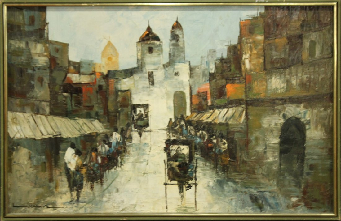 BUSY LATIN AMERICAN STREET SCENE Oil/c Signed Illegible