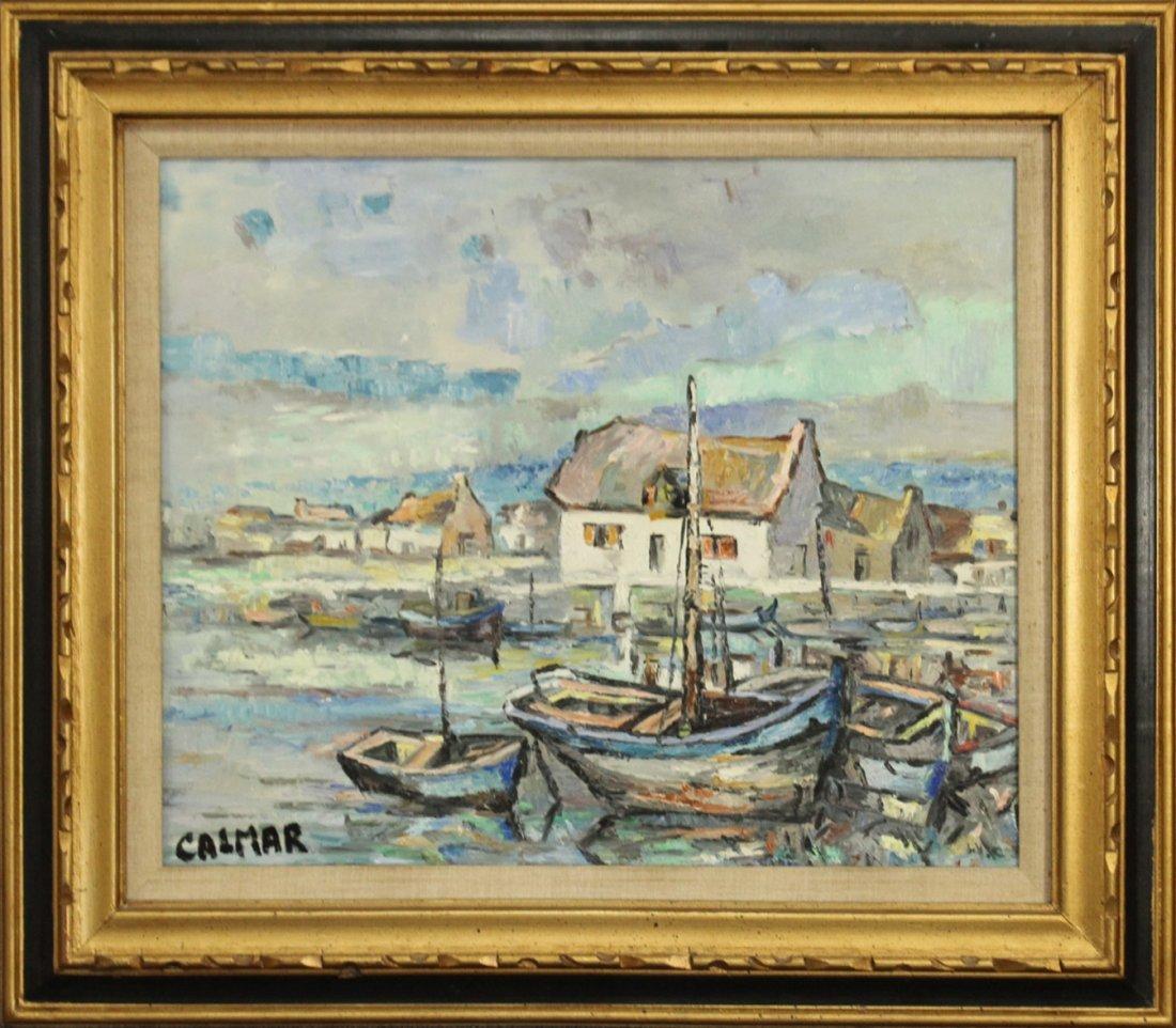 CALMAR, Oil/c Fishing Boats At The Wharf Docks, Signed