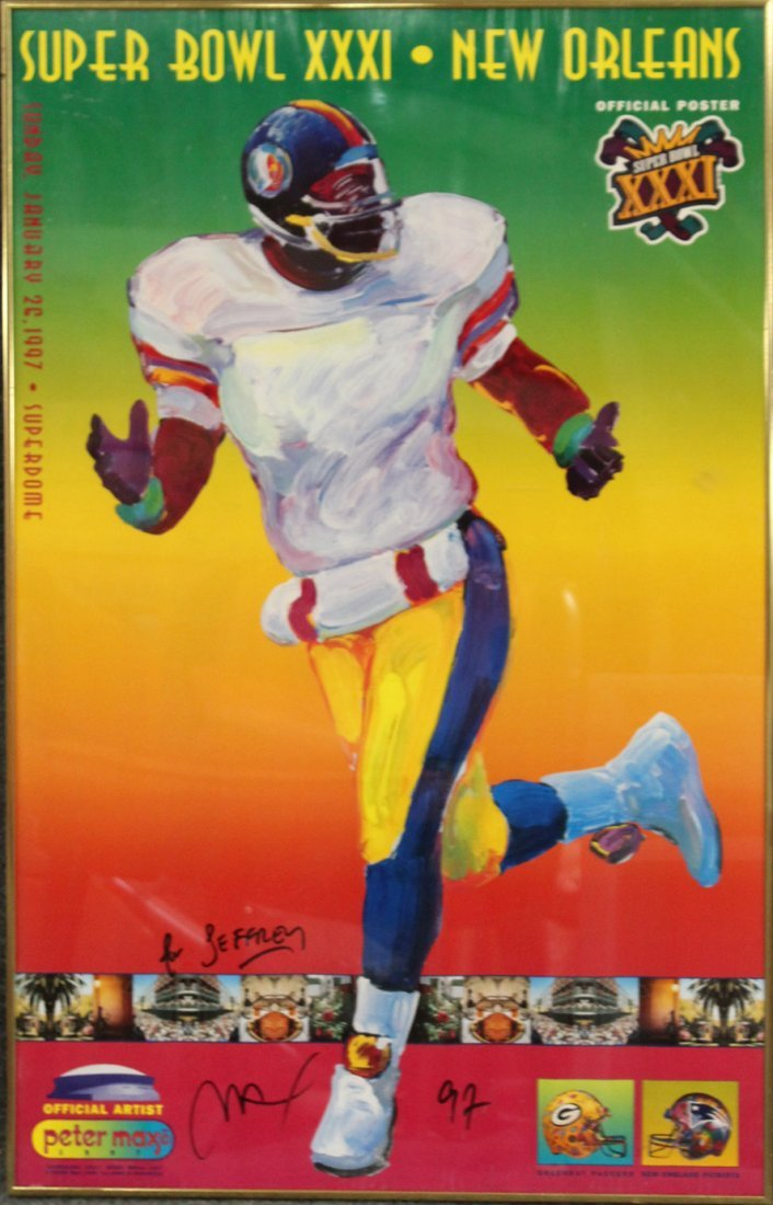 PETER MAX 1997 SIGNED SUPER BOWL XXXI POSTER