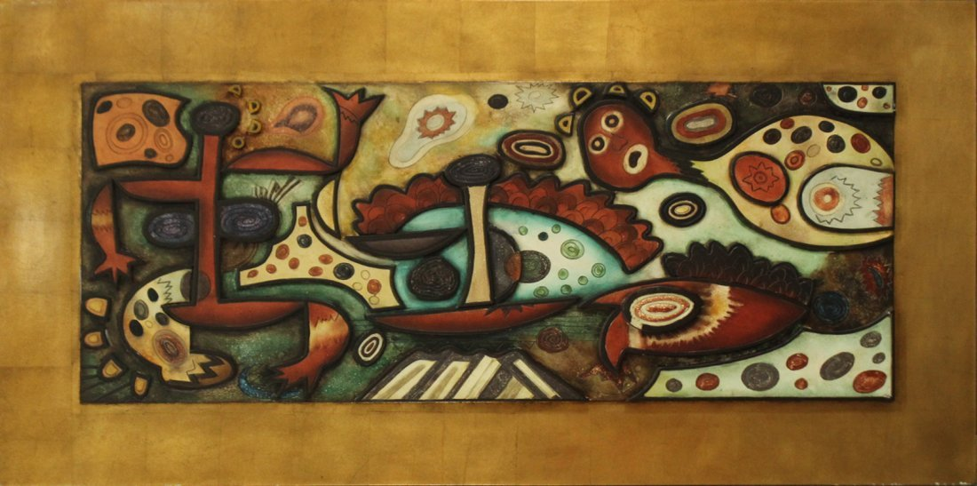 LARGE ABSTRACT COMPOSITION WALL PLAQUE 2-DIMENSIONAL