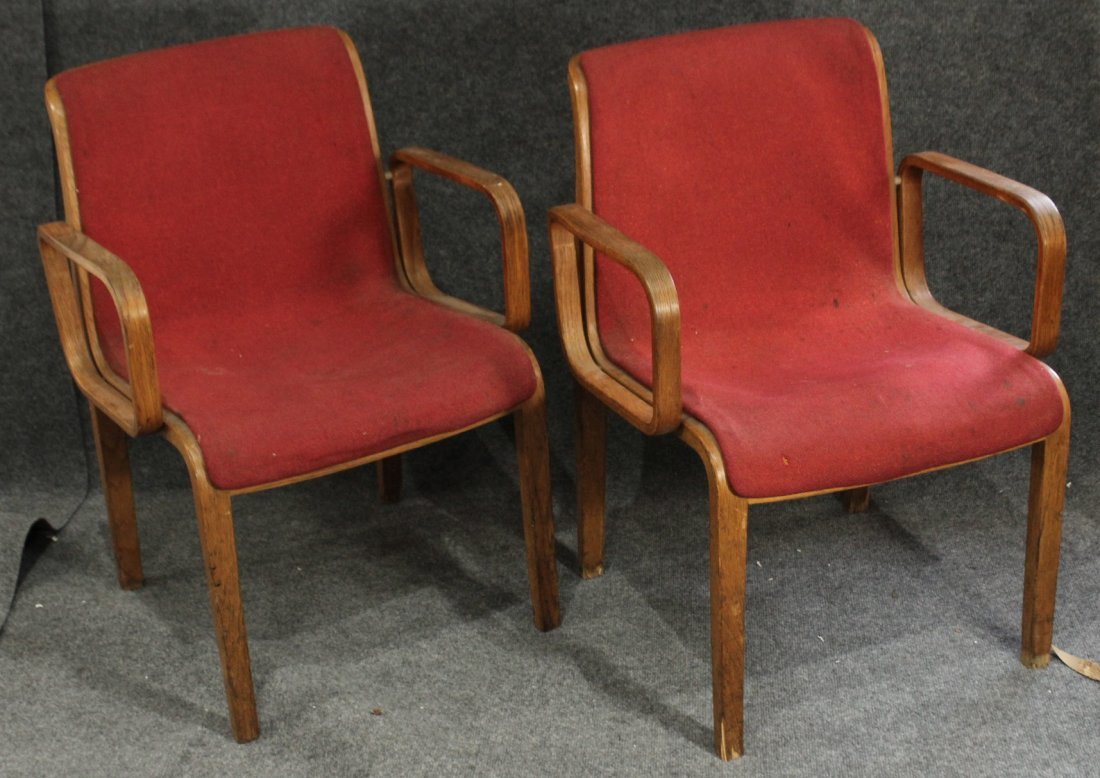 Pair Knoll international BENT PLY ARM CHAIRS Red