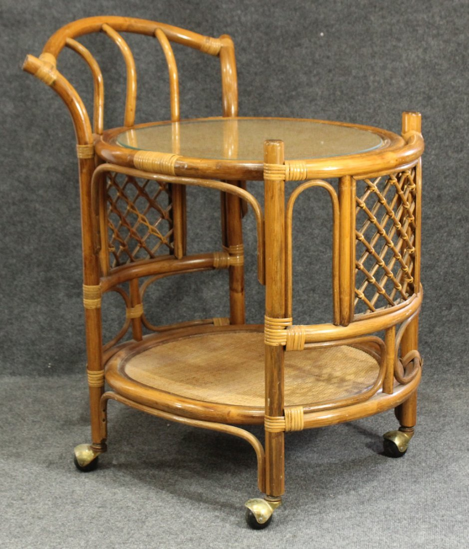 Stylish MID CENTURY BAMBOO RATTAN SERVING CART