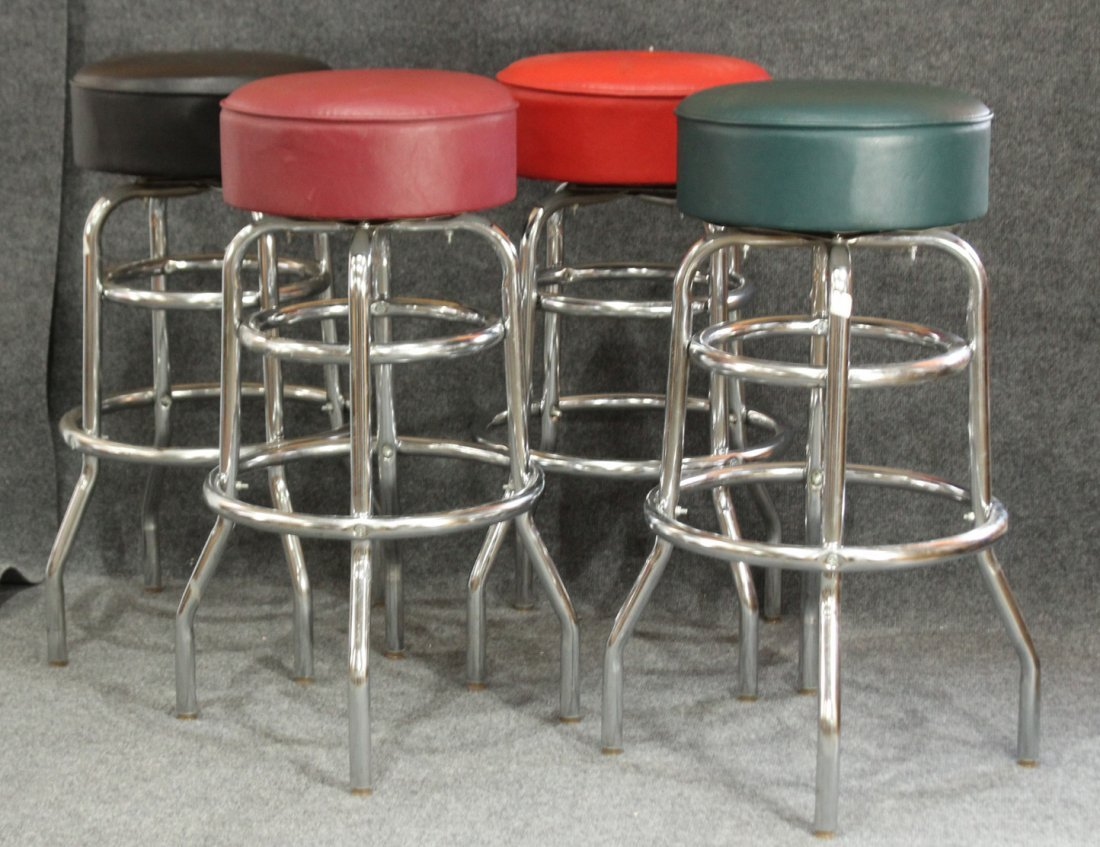 Set 4 Mid Century Design CHROME BAR STOOLS Swivel Seats