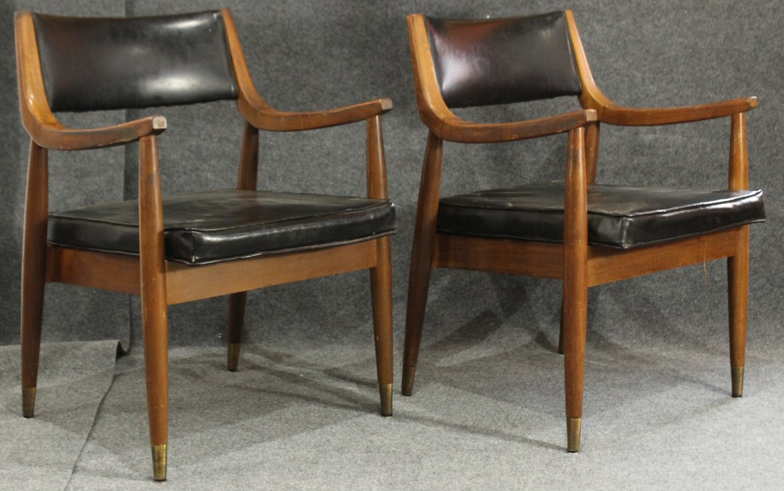 Pair Mid Century Modern TEAK ARM CHAIRS CURVED ARMS