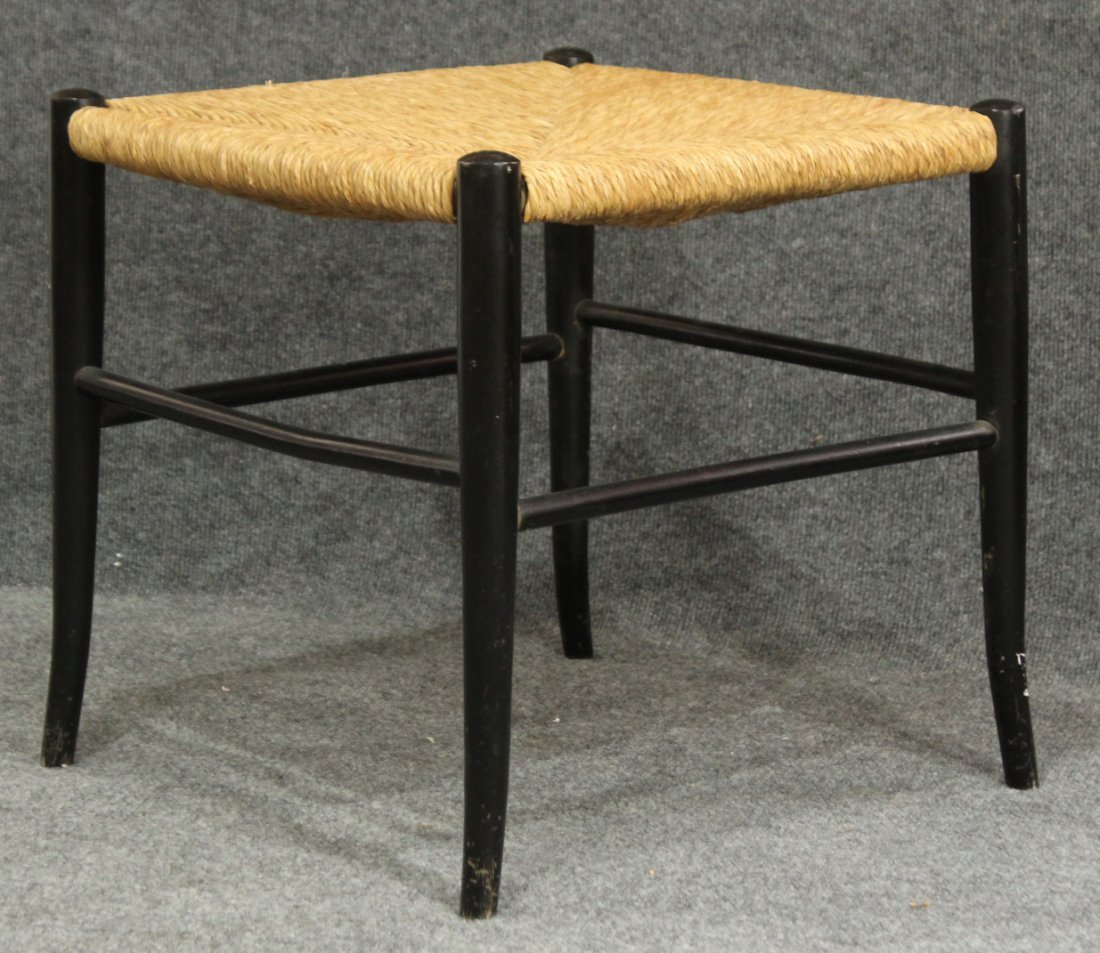 Mid Century ITALY ORIGIN RUSH SEAT FOOTSTOOL Ebony Wood