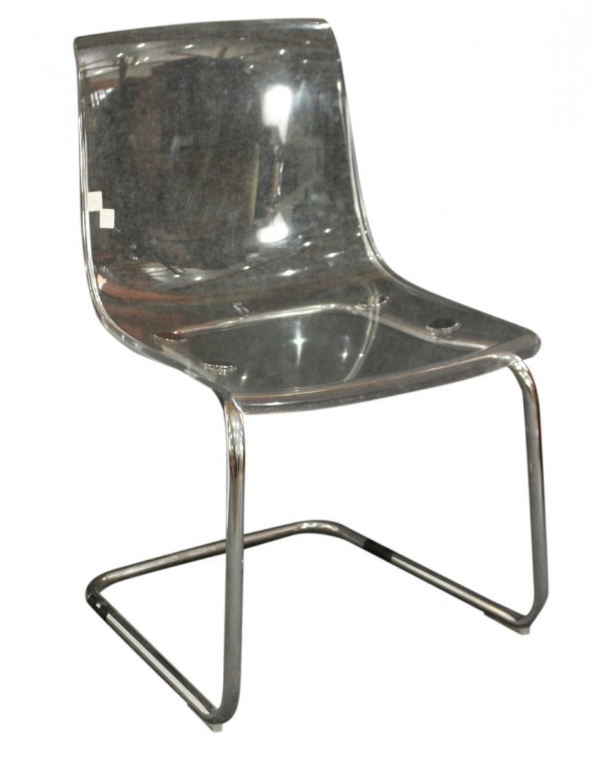 Mid Century Molded Clear Lucite Chair On Chrome Legs