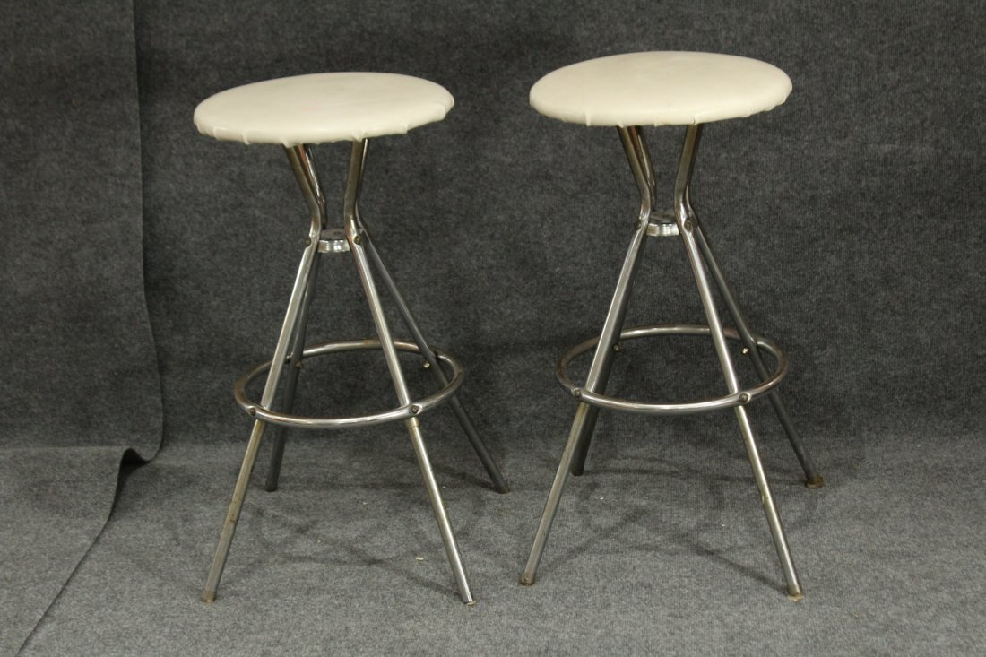 Pair Chrome Case Mid Century Bar Stools Swivel Seats