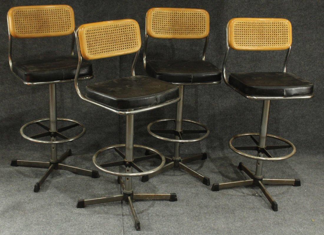 Set 4 MARCEL BREUER Style BAR STOOLS CANE BACKS