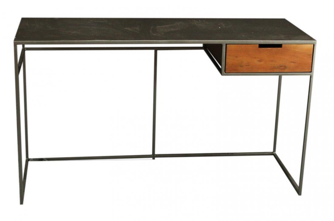 Modern Industrial Design Metal Desk With Wood Drawer