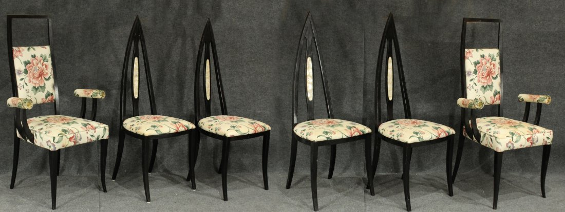 SET 6 ADRIAN PEARSALL STYLE Black Ebony DINING CHAIRS