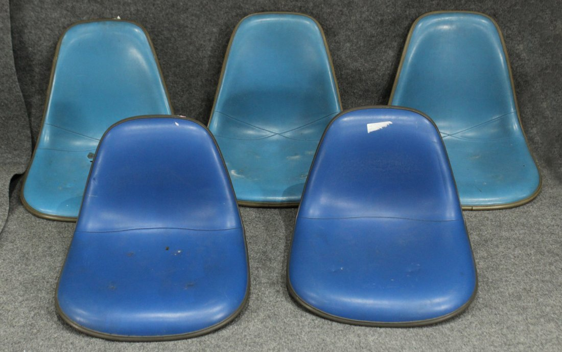 FIVE [5] HERMAN MILLER Blue Upholstered Chair Seats