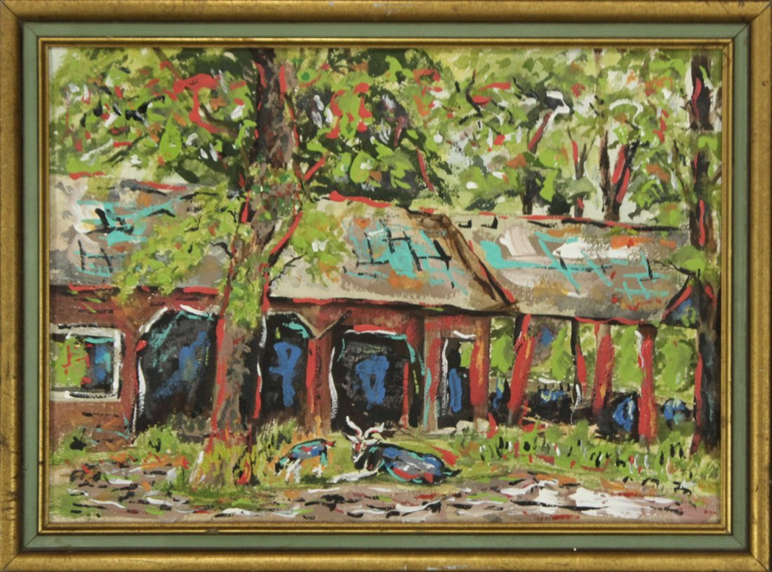 CARRIAGE HOUSE BARN Oil Painting MOD IMPRESSIONISM