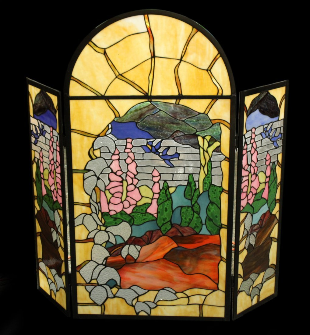 Tiffany Style Stain Glass Folding Side FIREPLACE SCREEN
