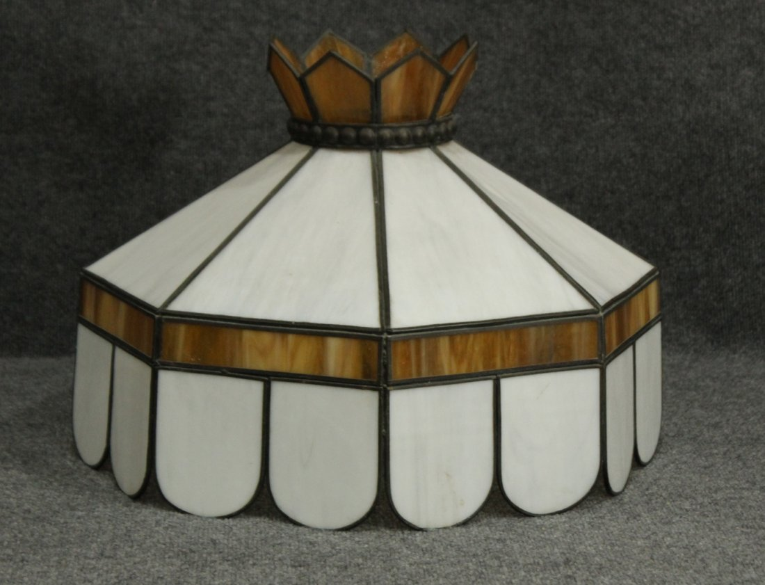 WHITE AND AMBER STAIN GLASS HANGING DOME SHADE