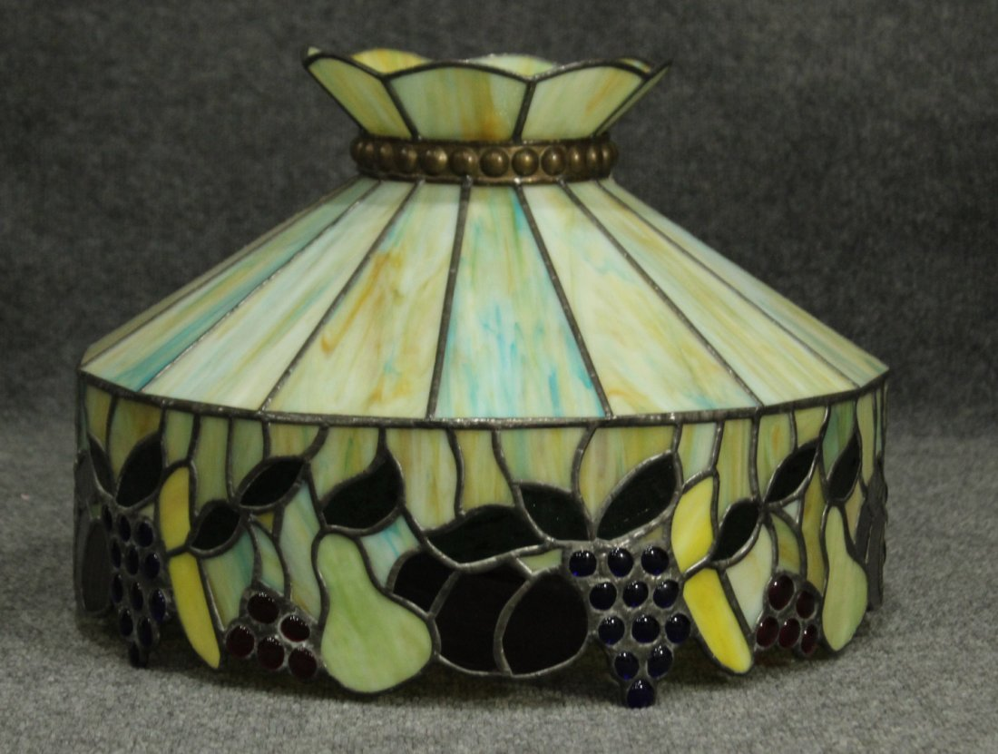 STAIN GLASS FRUIT BORDER TIFFANY STYLE HANGING LAMP