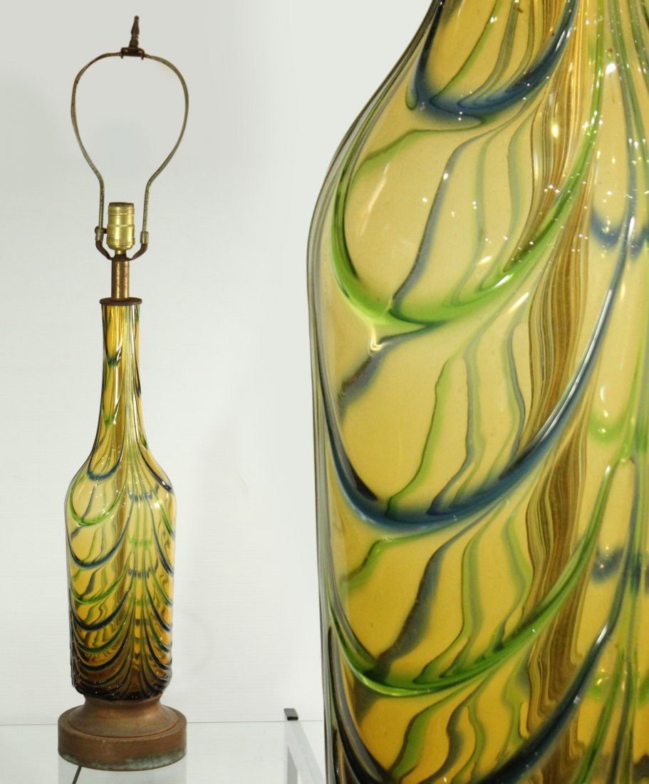 Superb MID CENTURY ITALIAN ART GLASS TABLE LAMP
