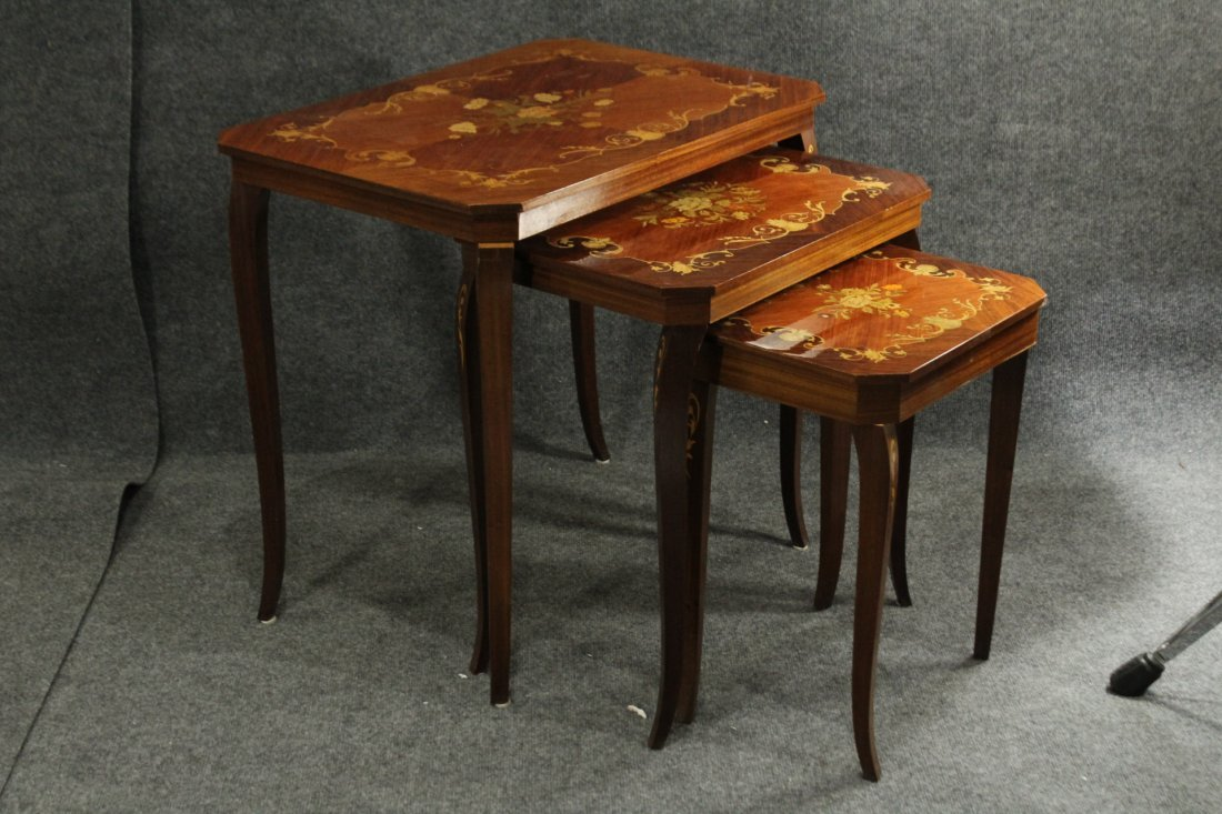 ITALIAN SATINWOOD INLAY NEST OF TABLES with MUSIC BOX
