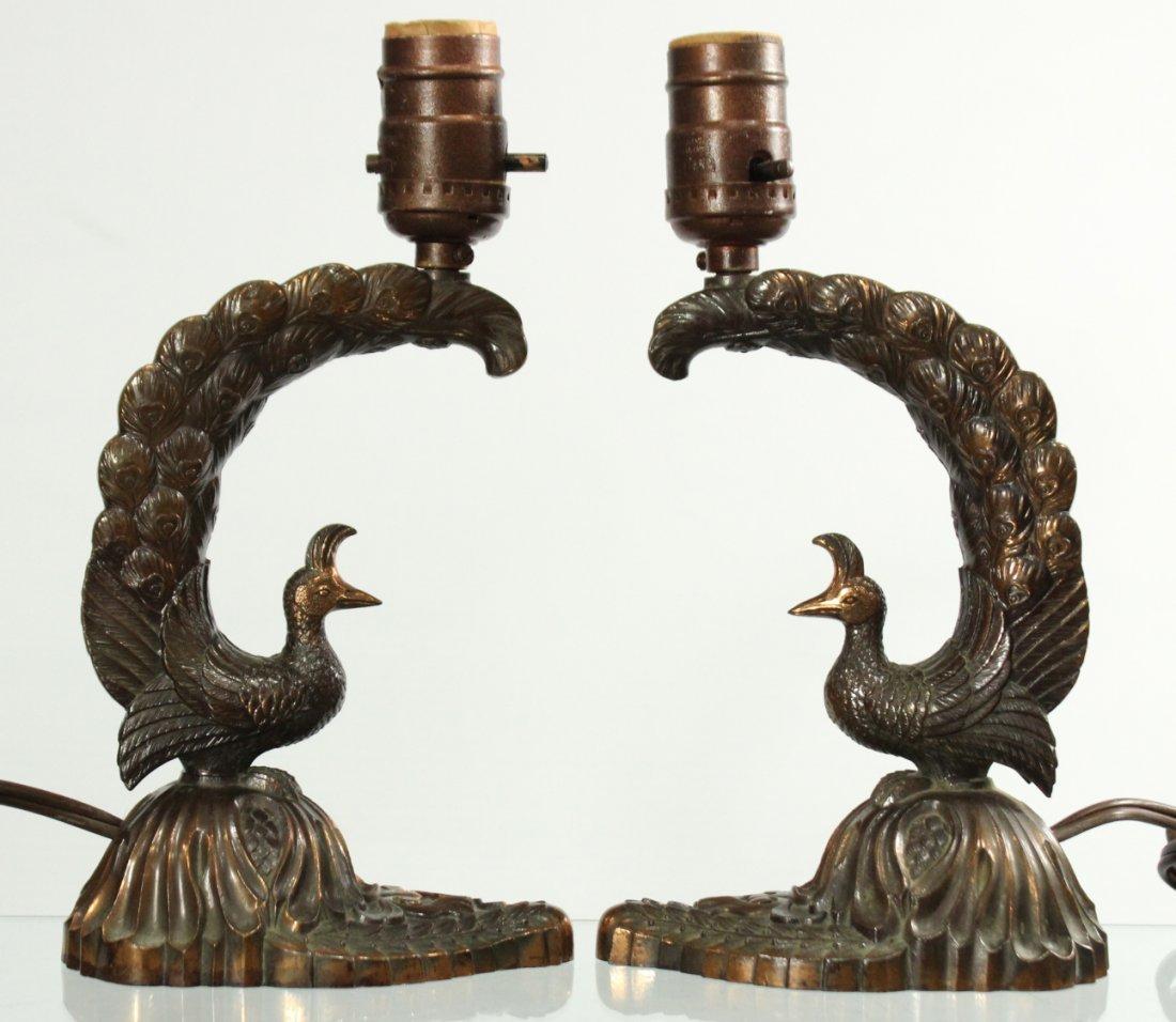 Pair Mid Century ART DECO PEACOCK Metal BOUDOIR LAMPS