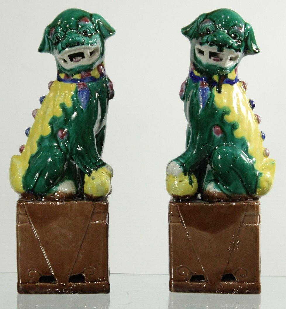 Pair Antique GLAZED CERAMIC ASIAN FOO DOGS ON BASES