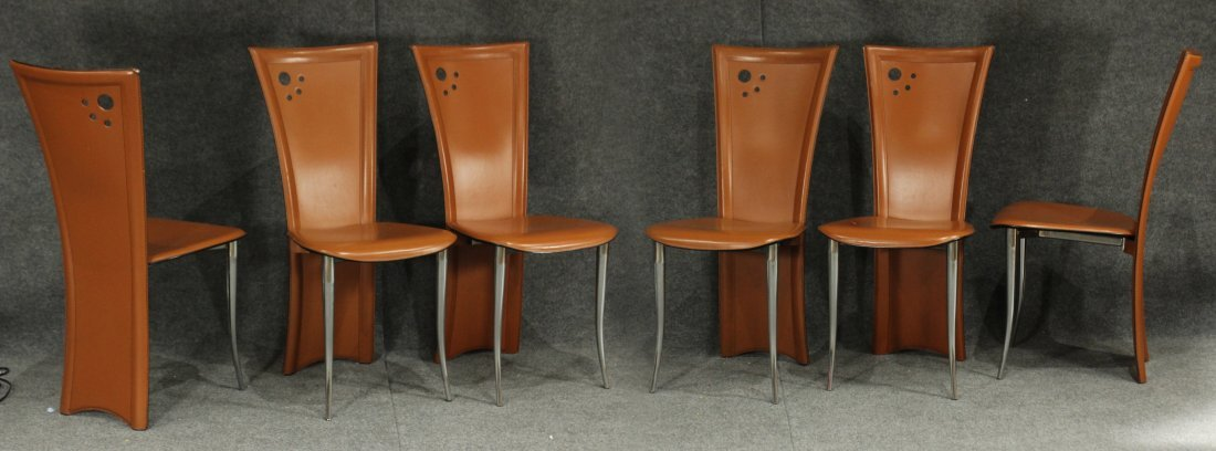 6 MODERN ITALIAN DESIGN TALL BACK LEATHER DINING CHAIRS