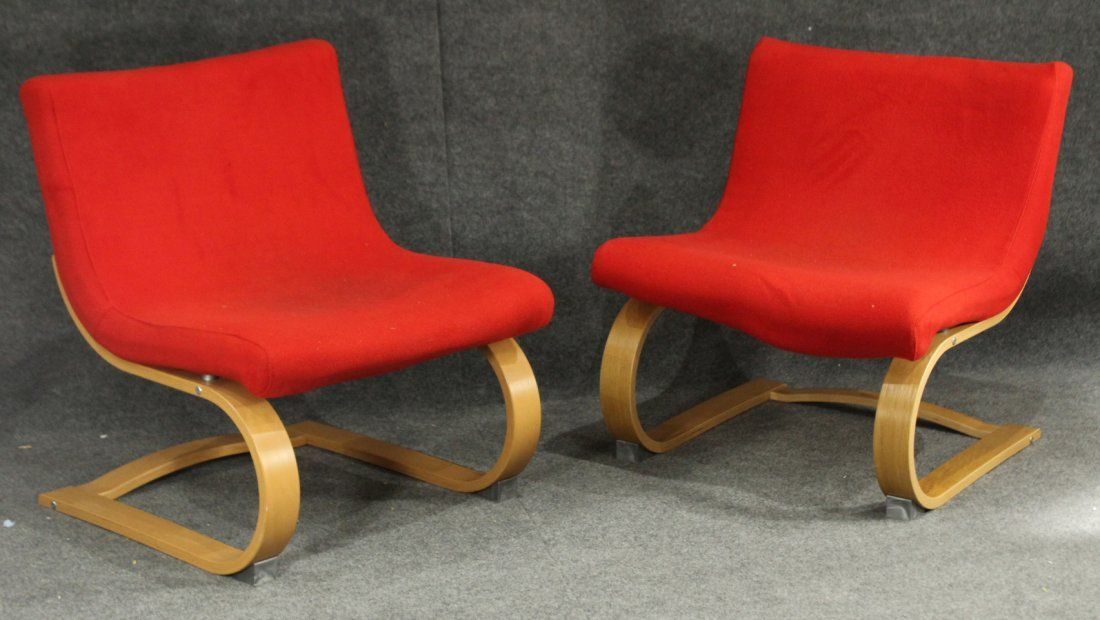 Pair MID CENTURY DESIGN BENT PLY RED UPHOLSTERED CHAIRS