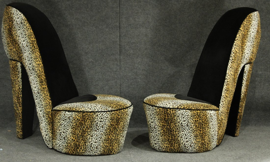 Pair RETRO STILETTO SHOE CHAIRS Leopard Print Upholster