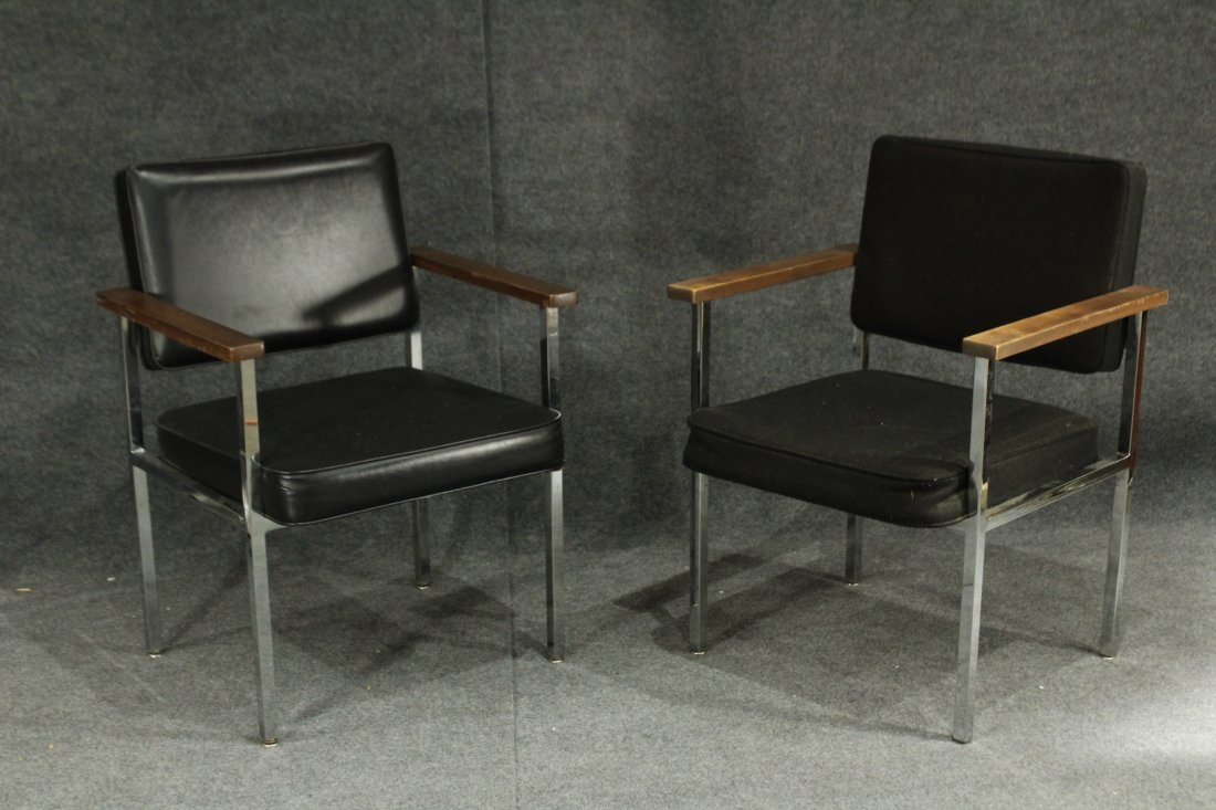 TWO Dellwood MID CENTURY ARMCHAIRS CHROME BLACK LEATHER