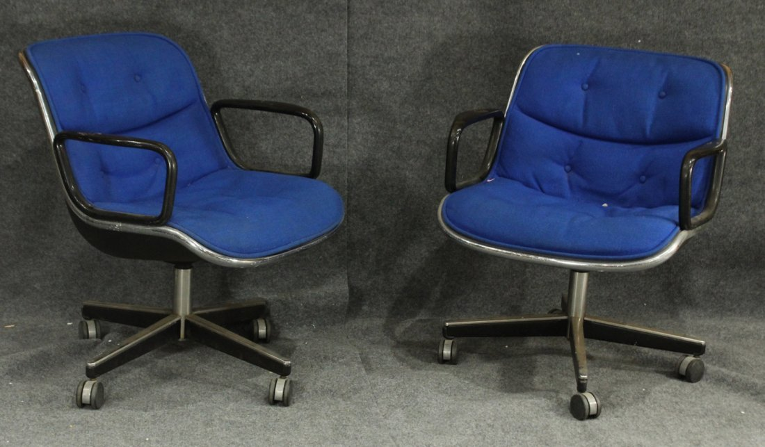 Pair KNOLL INTERNATIONAL Blue Upholstered OFFICE CHAIRS