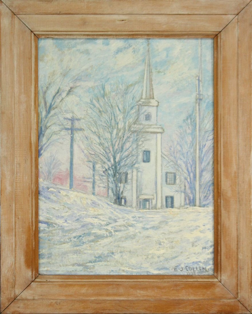 E J CULLEN 1938 Oil/c TOLL GATE HILL CHURCH, NEWTOWN CT
