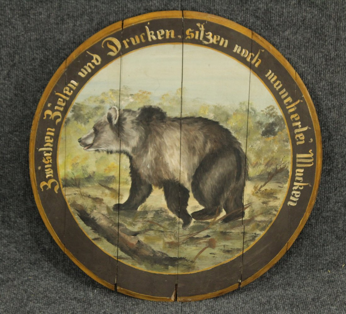 GERMAN HAND PAINTED WOOD BARREL TOP WITH BEAR