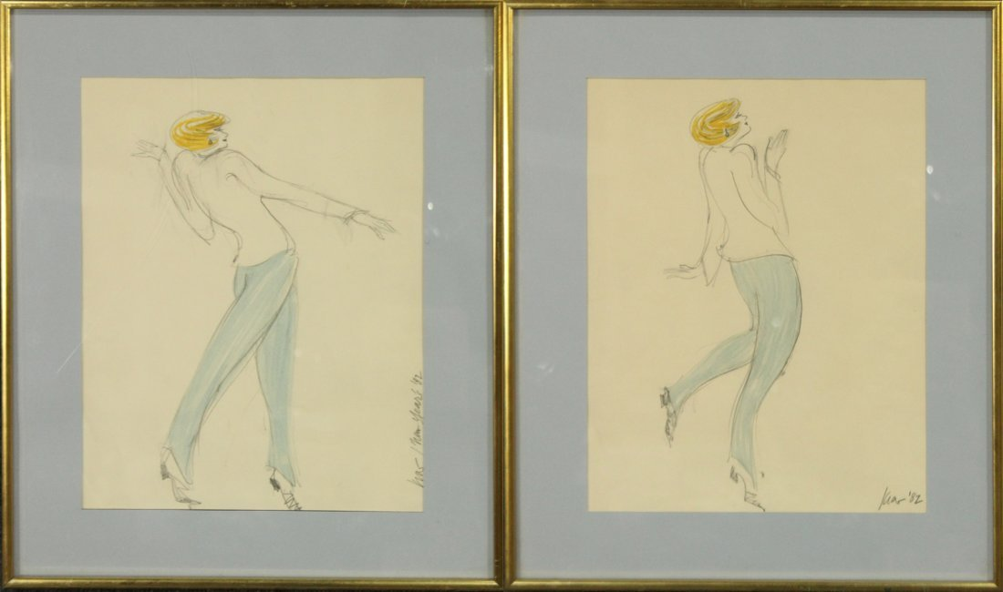 KIA '82 Pair FASHION COLORED PENCIL DRAWINGS Signed