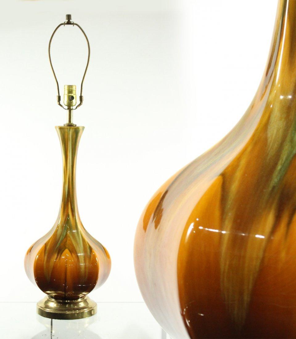 Mid Century Modern AMBER GLAZED POTTERY TABLE LAMP