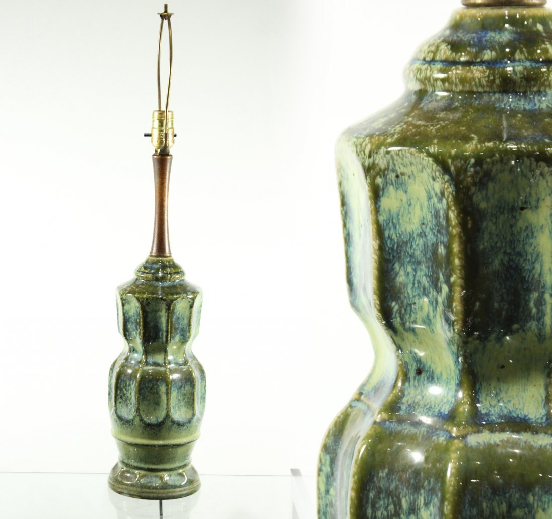 Mid Century Modern GREEN GLAZED POTTERY TABLE LAMP
