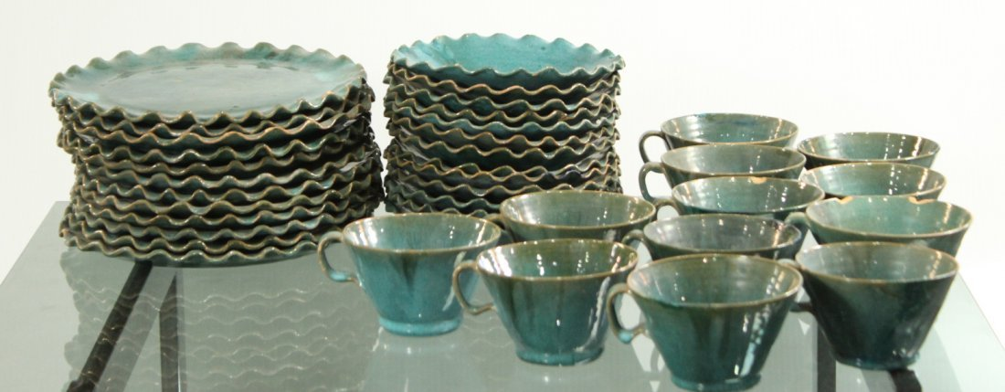 Mid Century Green Glazed Pottery Dinner Set Plates Cups