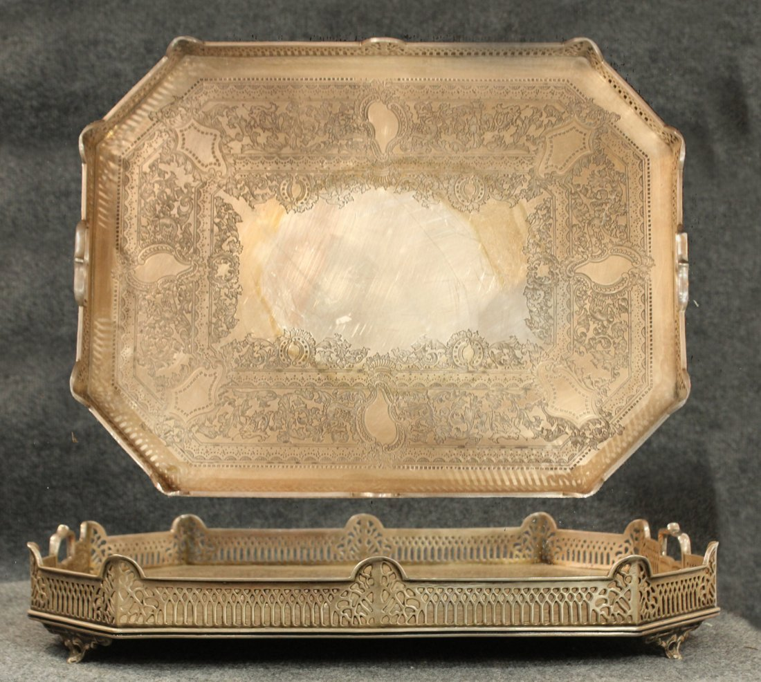 Large Antique FANCY INCISED SILVER PLATE SERVING TRAY