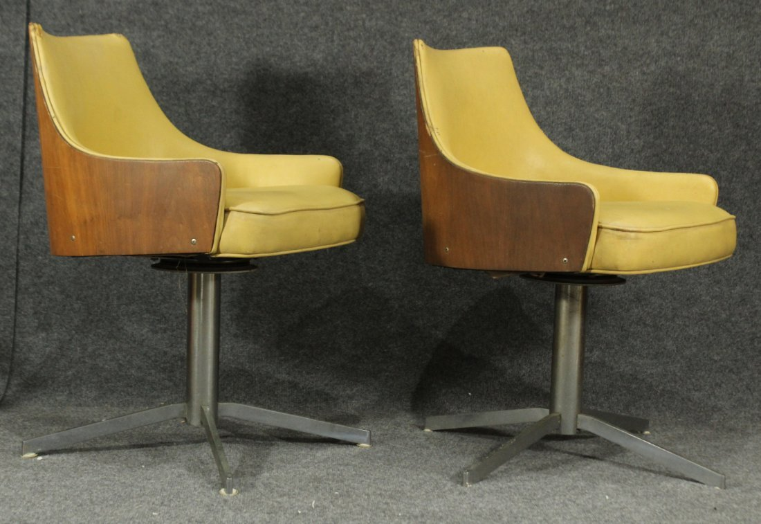 2 Yellow MILO BAUGHMAN For THAYER COGGIN Bent Ply Chair