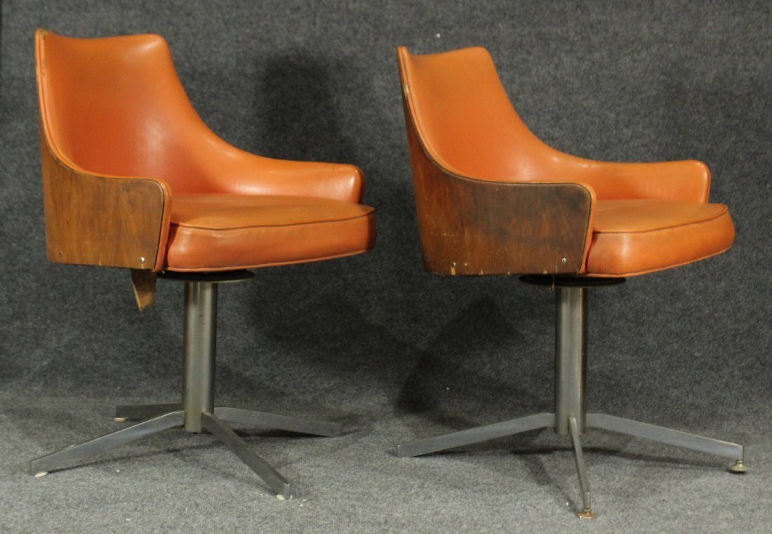 2 Orange MILO BAUGHMAN For THAYER COGGIN Bent Ply Chair