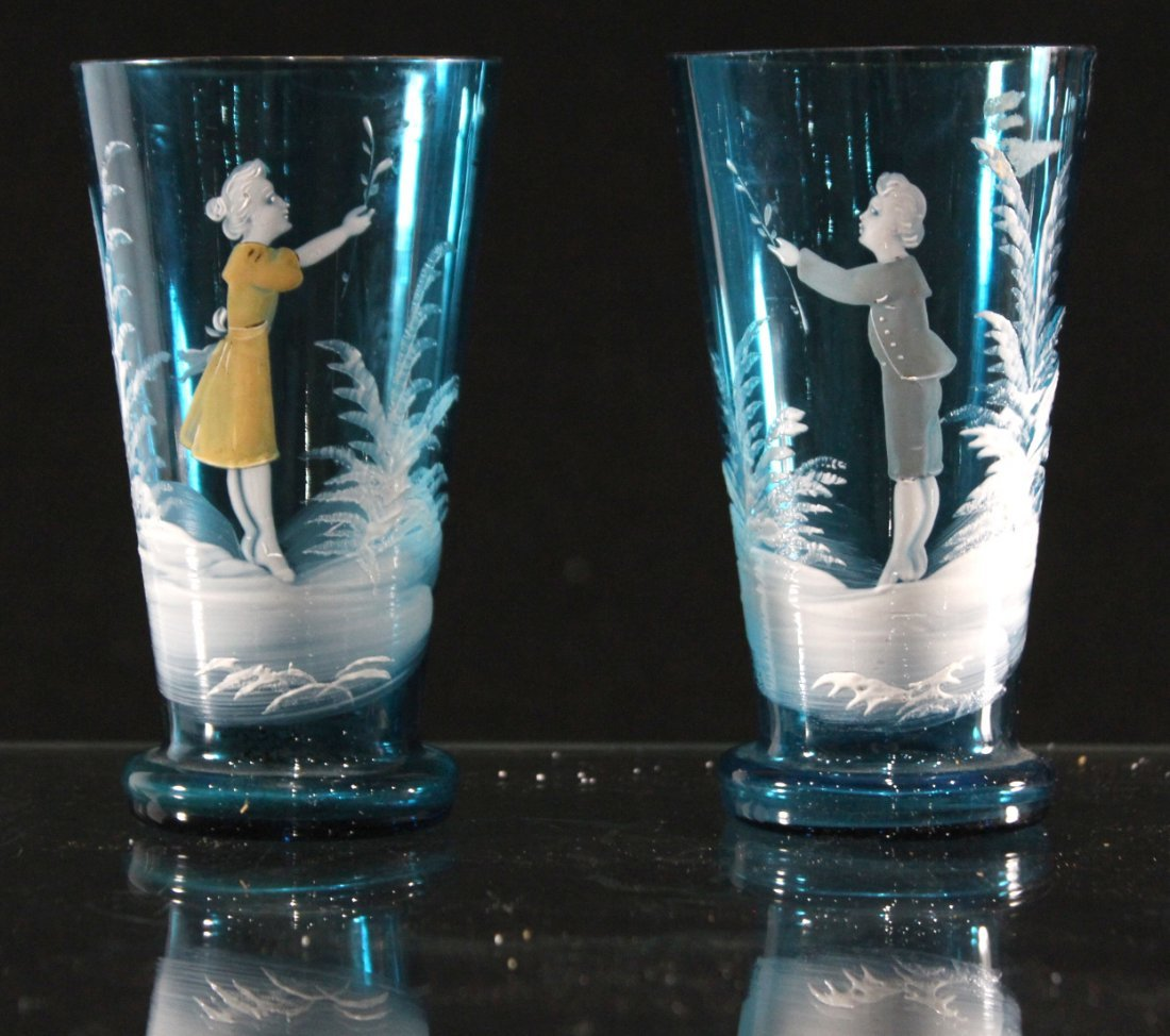 Pair Teal Blue Glass MARY GREGORY Boy And Girl Tumblers